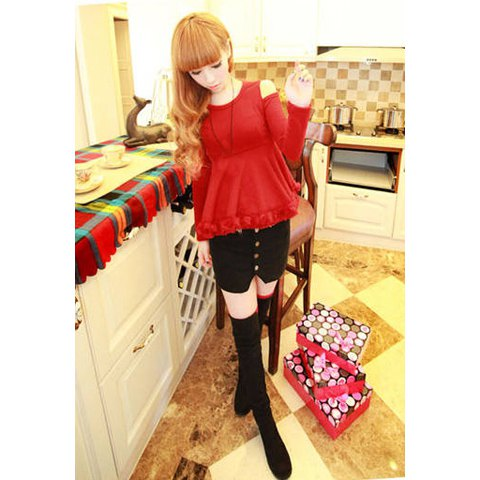 Slimming Stereo Flower Hem Off-The-Shoulder Women's Sweater - ONE SIZE RED