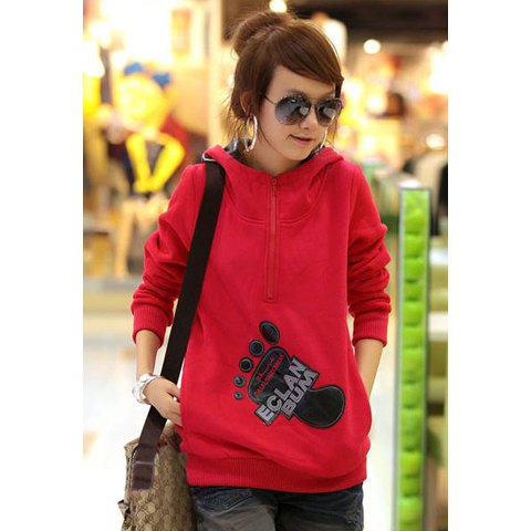 Casual Footprint Pattern Long Sleeve Women's Hoodie - RED L