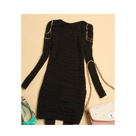 Solid Color Chain Embellished Women's Long Sleeve Dresses - BLACK ONE SIZE