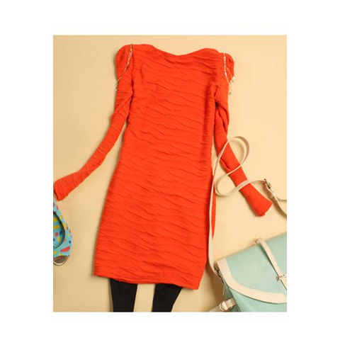 Solid Color Chain Embellished Women's Long Sleeve Dresses