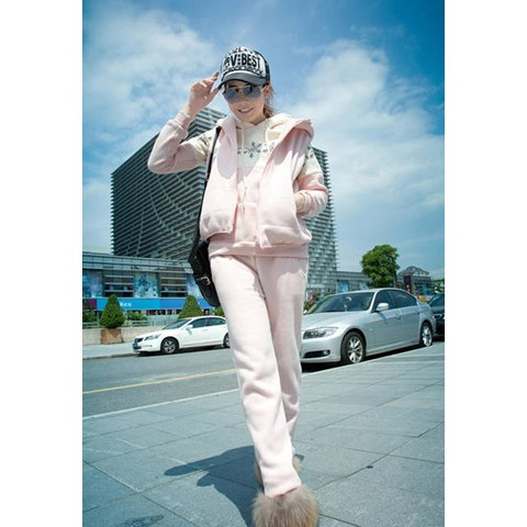 Snowflakes Print Thicken Fleece Hoodie Women's Three-Piece Suit - PINK M