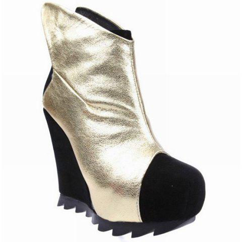 Stylish Color Block Wedge Heel Wing Top Design Women's Club Boots - GOLD 38