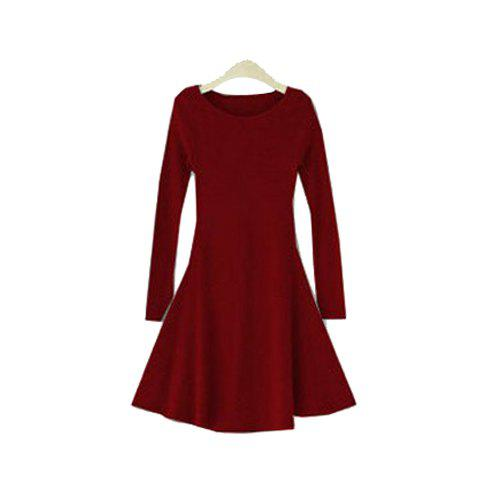 Ladylike Plus Size Multi Solid Color Scoop Neck Long Sleeves Women's Cotton Blend Dress