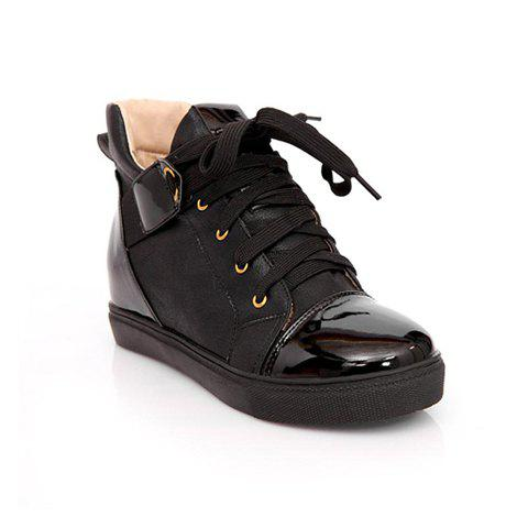 Laconic Casual Lace-Up and Spandex Design Women's Combat Boots - BLACK 37