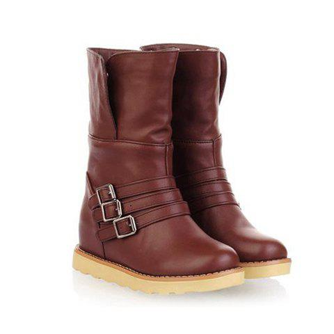 Casual Vintage Solid Color Studs Belts Design Women's Combat Boots - DEEP BROWN 34