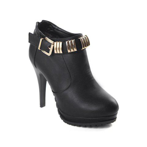 Laconic Stylish Style Solid Color Metal Buckle and Non-Slip Soles Design Women's Ankle Boots - BLACK 38