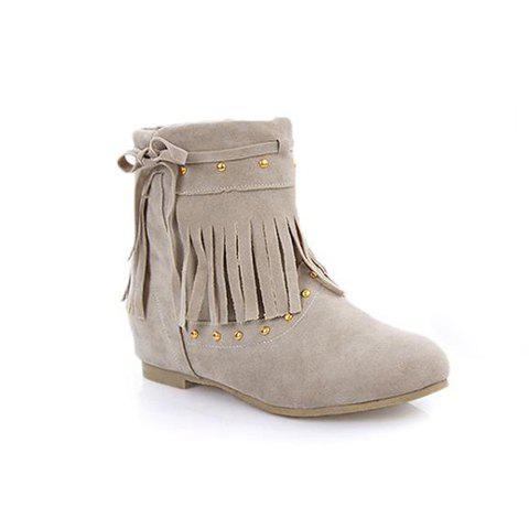 Retro Style Fringe and Rivet Embellished Flat Heel Women's Suede Short Boots - APRICOT 36