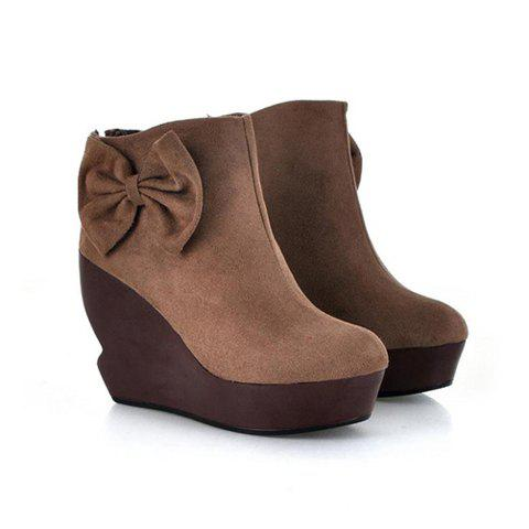 Casual Solid Color Wedge Heel Bow Round Head Design Women's Short Boots - LIGHT BROWN 37