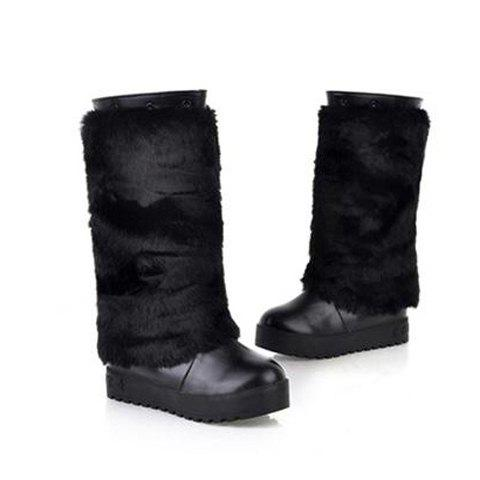 Casual Solid Color Imitated Cony Hair Design Women's Platform Boots - BLACK 36