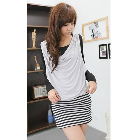 Stackable Splicing Stripes Women's Long Sleeve Dresses - GRAY ONE SIZE