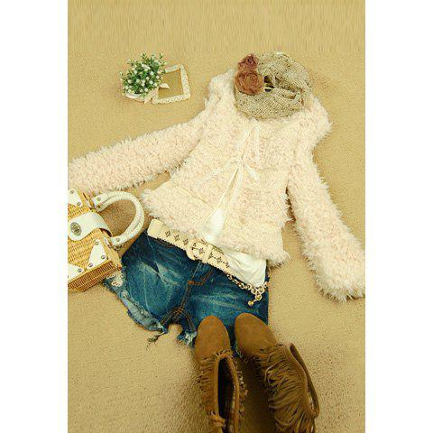 Modern Style Scoop Neck Lace Embellished Long Sleeves Imitated Fur Sweet Women's Coat - APRICOT ONE SIZE