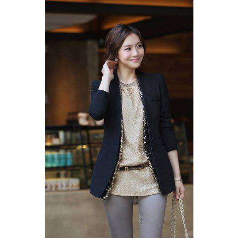 Elegant V Neck Long Sleeve Cotton Solid Color Sequin Embellished Women's BLazer - BLACK L