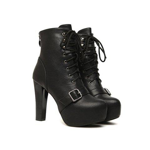 Party Lace-Up and Cross Strap Design Women's Short Boots - BLACK 35