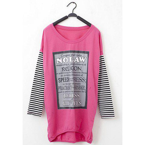 Chic Letter Print Stripe Sleeves Scoop Neck Women's Oversized T-Shirt - ROSE ONE SIZE
