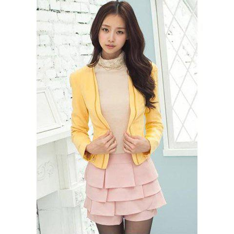 Korean Style Lapel Solid Color Shoulder Pad Long Sleeve Polyeater Women's Blazer - YELLOW L