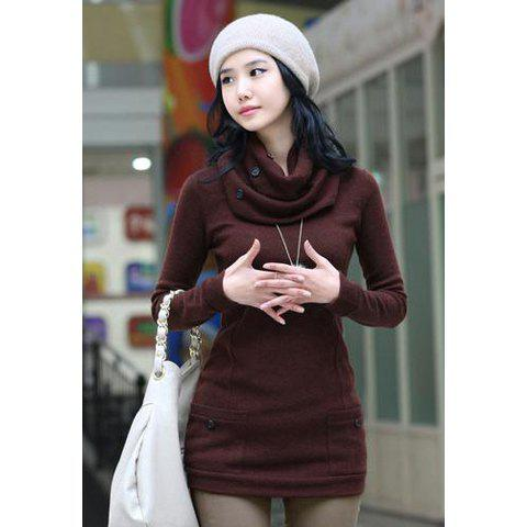 Pocket Scoop Neck Longline T Shirt with Scarf - CLARET ONE SIZE