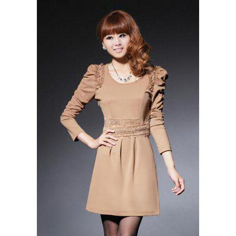 Elegant Scoop Neck High Waist Solid Color Puff Long Sleeves Column Cotton Blend Women's Dress - KHAKI ONE SIZE