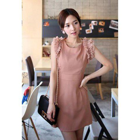 Elegant Slimming Fit Scoop Neck Flouncing Women's Dress - PINK L