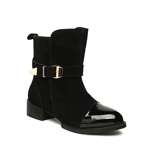 Casual Suede and Patent Leather Design Women's Short Boots - 38 BLACK