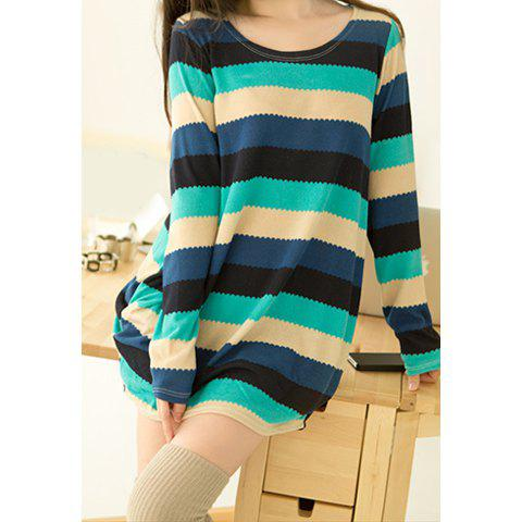 Casual Style Loose-Fitting Wave Stripe Long Sleeve Cotton Blend Women's Long T-Shirt - BLUE ONE SIZE