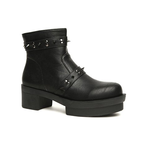Casual Rivet and Chunky Heel Design Women's Short Boots - BLACK 38