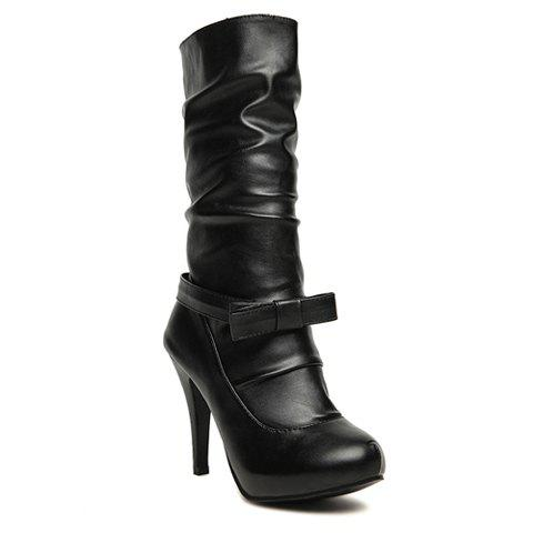 Party Bowknot and Imitation Fur Design Women High Boots - BLACK 34