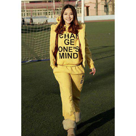 Casual Letter Print Fleece Hoodie Women's Three-Piece Suit - YELLOW M