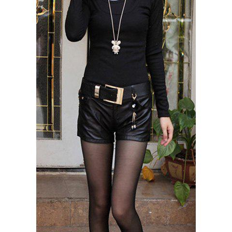 Stylish Slimming Fit Women's PU Shorts with Belt - BLACK S