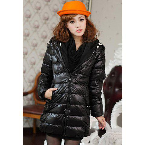 Stylish Hooded Faux Twinset Women's Down Coat