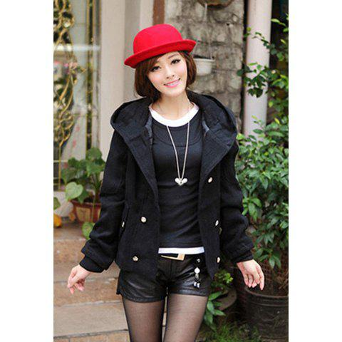 Stylish Slimming Fit Hooded Double Breasted Short Women's Wool Coat - BLACK XL