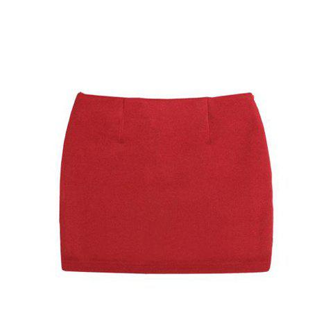 Casual Wool Solid Color Skirt For Women