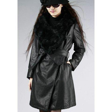 Stylish Cotton-Padded Belted Artificial Fur Turndown Collar Long Sleeves Women's Faux Leather Coat - BLACK L