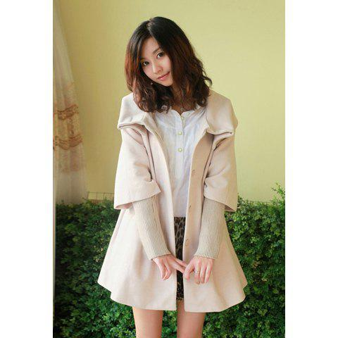 Casual Stand Collar Long Sleeve Solid Color Wool Women's Coat - APRICOT S