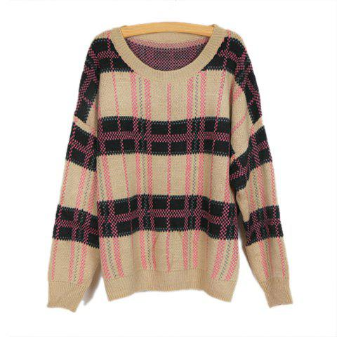 Casual Scoop Neck Long Sleeve Check Color Blocking Knitting Sweater For Women - PURPLE