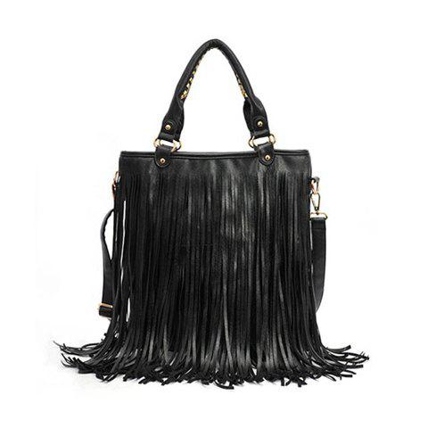 Casual Stylish Solid Color Tassels Zipper Design Women's Shoulder Bag - BLACK
