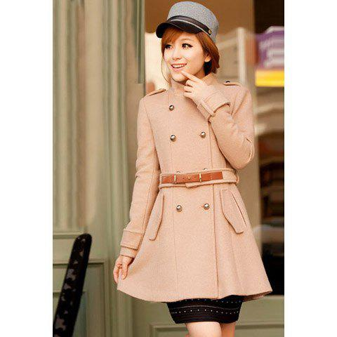 Elegant Stand-Up Neck Long Sleeve Double Breasted Solid Color Coat For Women - KHAKI M