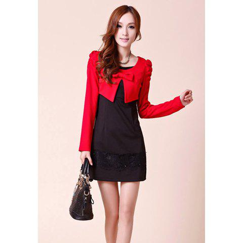 Stylish Slimming Fit Bow Embellished Puff Long Sleeve Cape Splicing Dress Women's Fake Two Piece - BLACK S