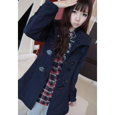 Slimming Horns Buckle Hooded Worsted Women's Coat - NAVY S