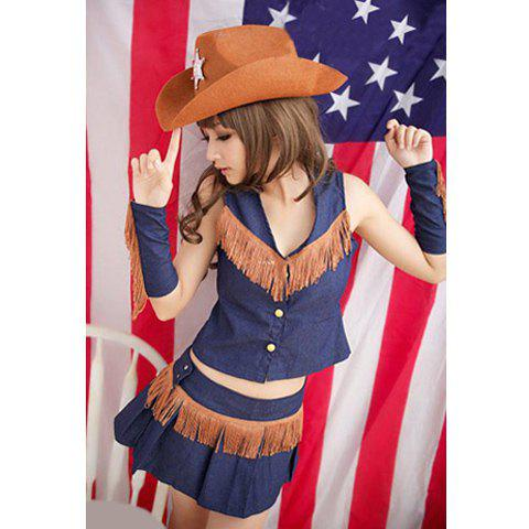 Fringe Embellished and Pleated Design Cowgirl Halloween Cosplay Costume For Women - AS THE PICTURE ONE SIZE