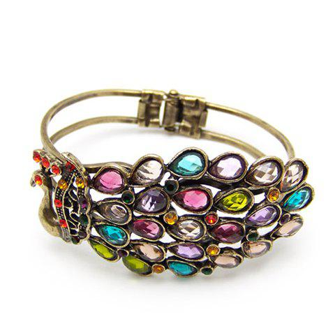 Bohemian and Gorgeous Style Peacock Shape Colored Rhinestone Bracelets For Women - AS THE PICTURE