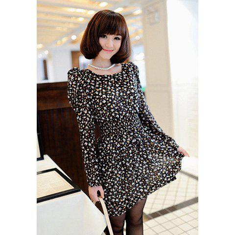 Sweet Tiny Floral Print Scoop Neck Elastic Waist Puff Long Sleeve Women's Dress - BLACK ONE SIZE