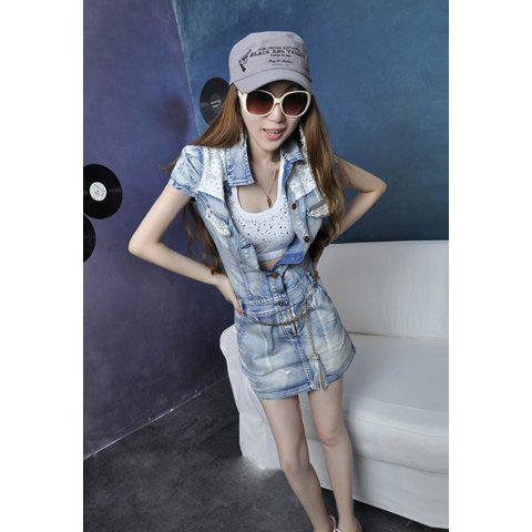 Stylish Slimming Fit Lace and Sequin Embellished Short Sleeve Women's Denim Dress