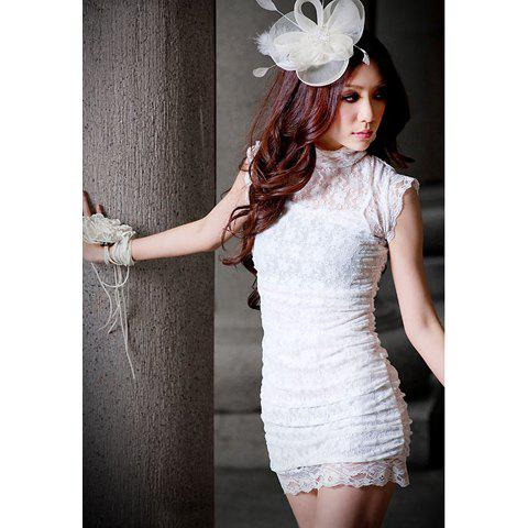 Sexy Slimming Fit High Collar Lace Short Sleeve Women's Dress - WHITE ONE SIZE