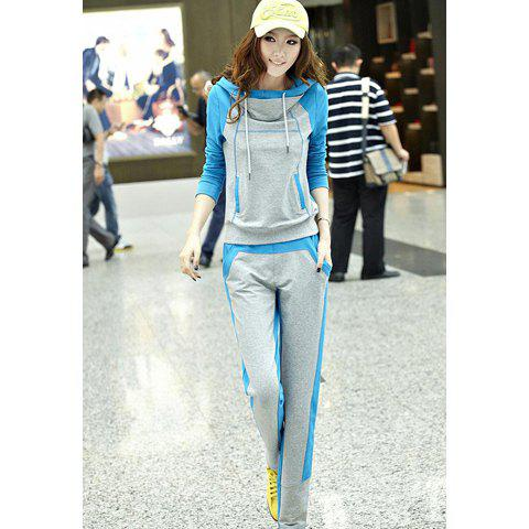 Casual Fleece Thick Hooded Long Sleeve Hoodie + Pants Women's Sports Suit - BLUE L