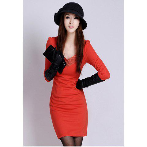Elegant Slim-Fit Solid Color Zipper Design V-Neck Long Sleeves Women's Dress - RED ONE SIZE
