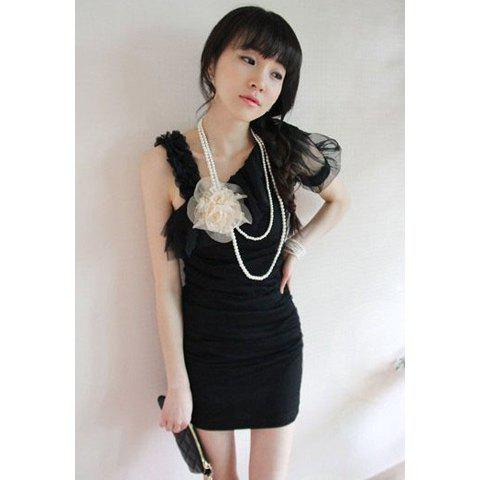 Chic Slim-Fit Special Shoulder Design Crease Embellished V-Neck Sleeveless Women's Net Yarn Dress - BLACK ONE SIZE