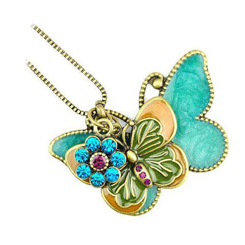 Retro Romantic Style Double Butterfly Design Rhinestone Embellished Sweater Chain For Women