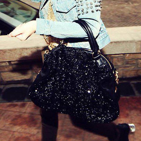 Stylish Solid Color Sequins Zipper Design Women's Tote - BLACK