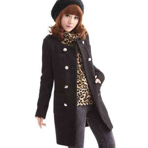 Stylish Slimming Fit Scoop Neck Double Breasted Long Sleeve Women's Woolen Coat - BLACK L