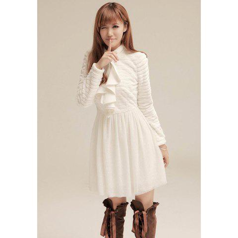 Ladylike Flounce Design Dot Net Yarn Splicing High Collar Long Sleeves Women's White Dress - WHITE S